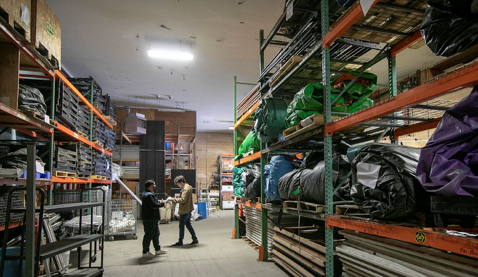 Durants Party Rentals employees work in the warehouse of the business at 20 Putnam Dr., Cheshire, Thurs., May 2, 2019. Dave Zajac, Record-Journal