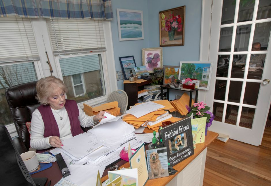 Sandi Gollnick, office manager, works  at the office of Robert A. Gollnick, certified public accountant, in Meriden. Monday was the deadline to file tax returns.Dave Zajac, Record-Journal