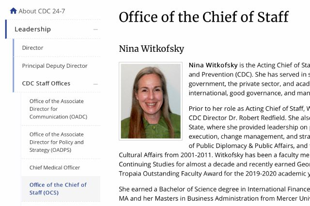 This Tuesday, Oct. 13, 2020 image from the U.S. Centers of Disease Control and Prevention website shows part of page for Nina Witkofsky, new acting chief of staff of the agency. Witkofsky was installed initially as a senior advisor to Dr. Robert Redfield, the CDC