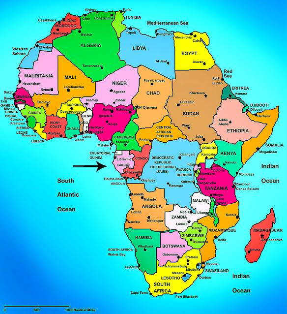 Map of Africa, arrow points to Gabon.