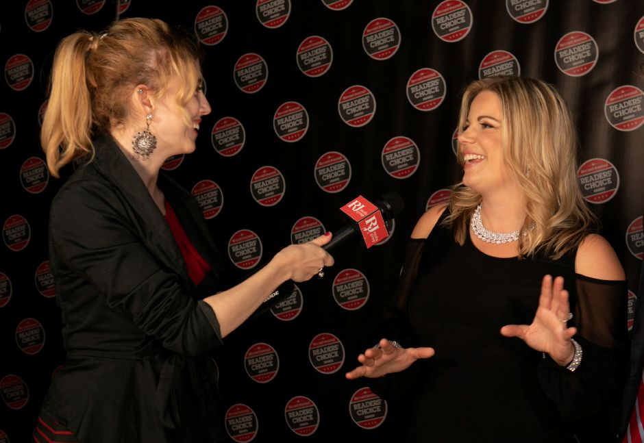Record-Journal Digital Content Producer Ashley Kus interviews Record-Journal Executive Vice President & Assistant Publisher Elizabeth White on the red carpet during the inaugural Record-Journal Reader