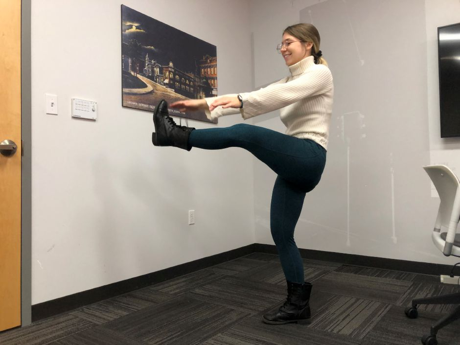Kristen Dearborn does the Frankenstein stretch at the Record-Journal office in Meriden.Kristen Dearborn, special to the Record-Journal