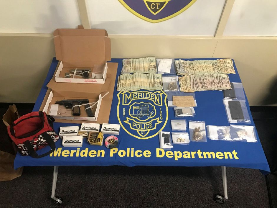 Items seized from after a raid on a residence at 57 S. First St. in Meriden July 15, 2019. | Courtesy of the Meriden Police Department.
