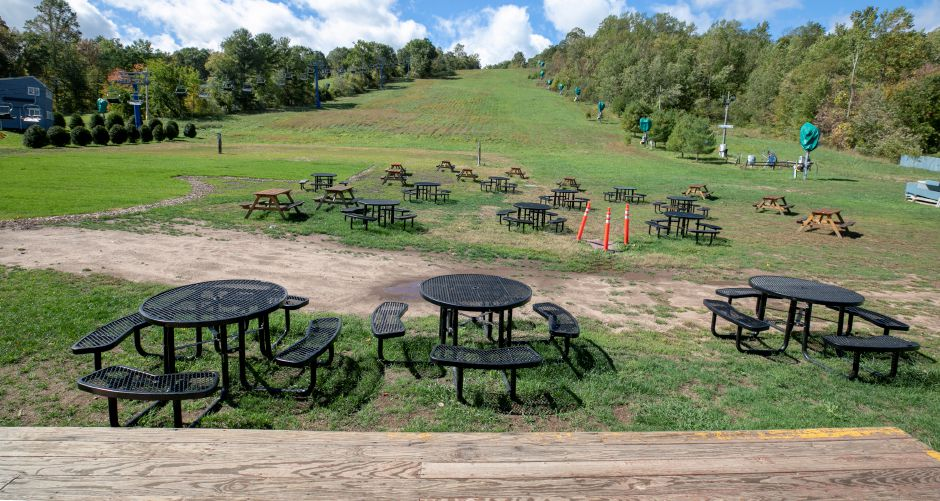 An outdoor dining area at the bottom of Hill 5 at Mount Southington, Wed., Sept. 30, 2020. Dave Zajac, Record-Journal