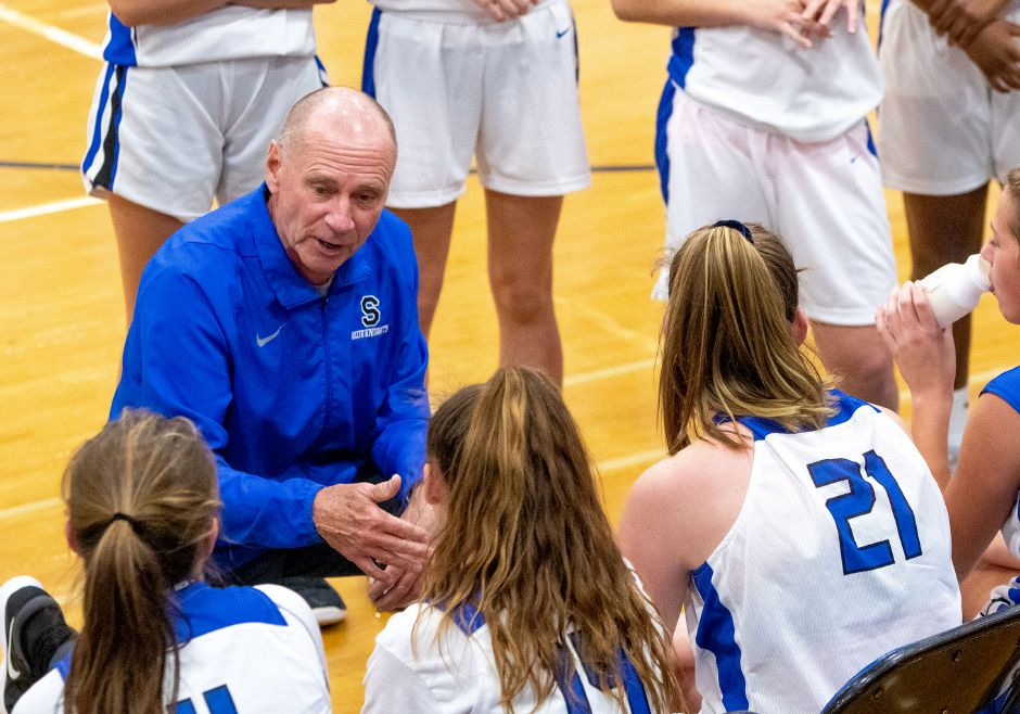 Howie Hewitt and his Southington girls basketball team were closing in on a second victory to start the season Friday night in Plainville before a late 3-pointer forced overtime, where the host Blue Devils pulled out a 48-47 decision.  Aaron Flaum, Record-Journal