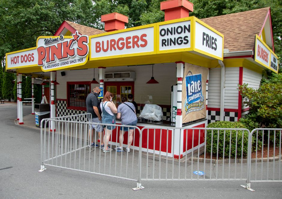 Park goes stop for a bite to eat at Pink's during their visit to Lake Compounce on Tuesday, July 7, 2020. Aaron Flaum, Record-Journal