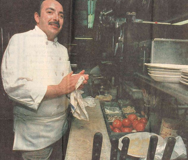 The Cabin Restaurant's head chef Dave Cardona in the kitchen in February 1994. | Record-Journal file photo