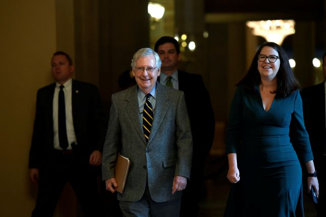 Senate Majority Leader Mitch McConnell of Ky., walks on Capitol Hill in Washington, Friday, Jan. 3, 2020. (AP Photo/Susan Walsh)