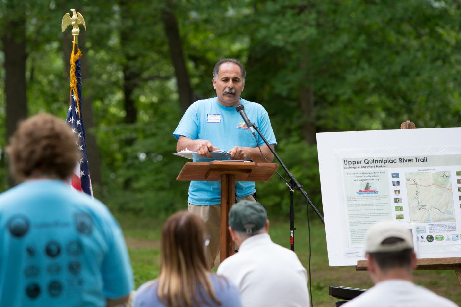 Peter Picone DEEP Wildlife Biologist welcomes guests Sunday during the Quinnipiac River Trail celebration at the Quinnipiac River Watershed in Meriden May 31, 2016 | Justin Weekes / Special to the Record-Journal