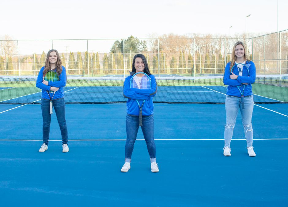 The Southington girls tennis program is sending three of its seniors on to college tennis. Making their commitments this week were, from left, Abby Murphy (New Haven), Isa Miani (Endicott) and Kate Hardy (Roger Williams). | Photo courtesy Susan Murphy
