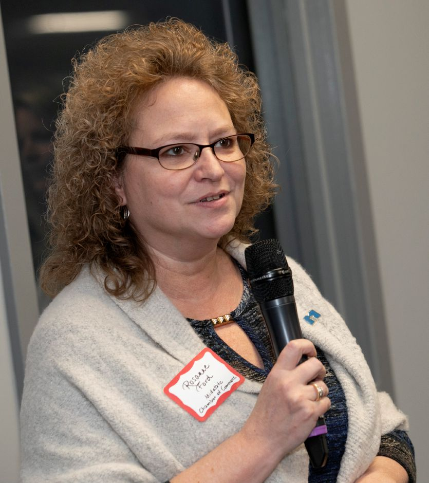 "Rosanne Ford, Midstate Chamber of Commerce president, speaks during the 3rd Annual 4 Chamber Social ""Around the World"" hosted by the Record-Journal in Meriden, Thurs., Nov. 14, 2019. Dave Zajac, Record-Journal"