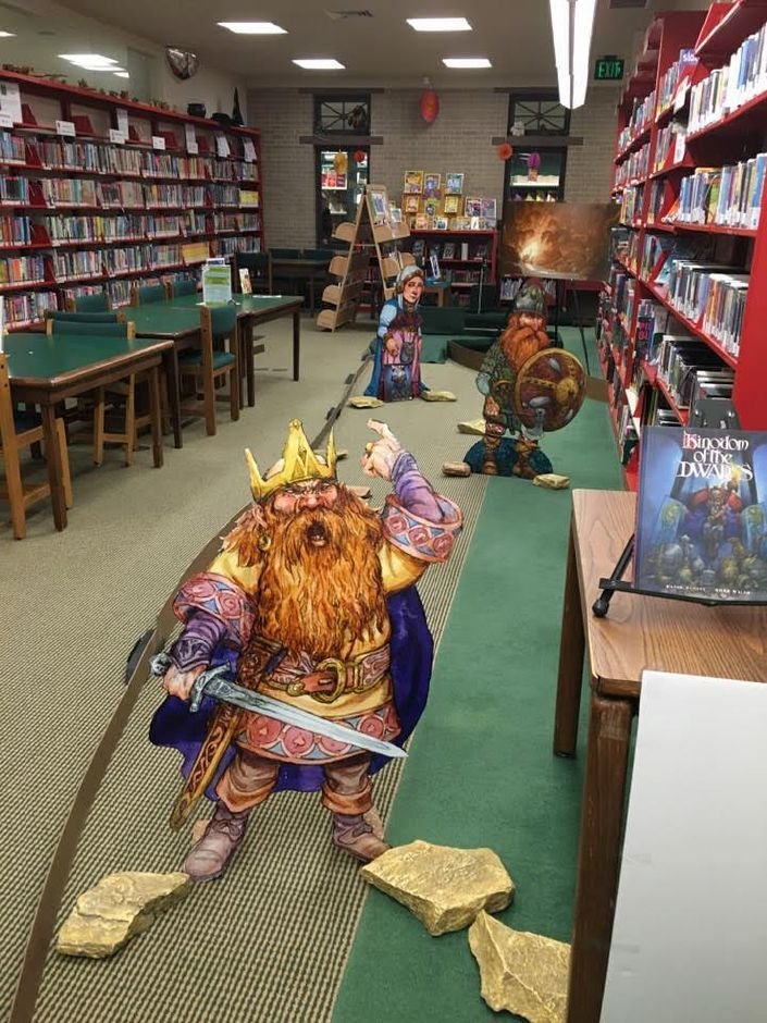 A band of dwarves guard the Durham Public Library