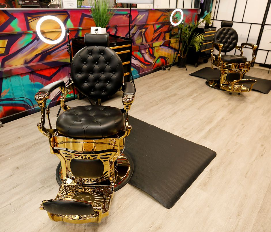 New gold chrome barber chairs at Feel Fresh Hair Studio at 65 W. Main St., Meriden, Thurs., Mar. 18, 2021. Dave Zajac, Record-Journal