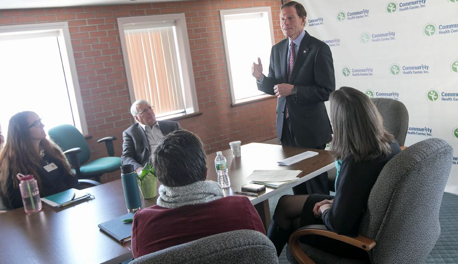 U.S. Sen. Richard Blumenthal, D-Conn., speaks during a meeting with the Meriden Community Health Center staff on Friday. Blumenthal is urging Congressional action to protect health care for 17,000 Connecticut children and 9 million nationwide. Dave Zajac, Record-Journal
