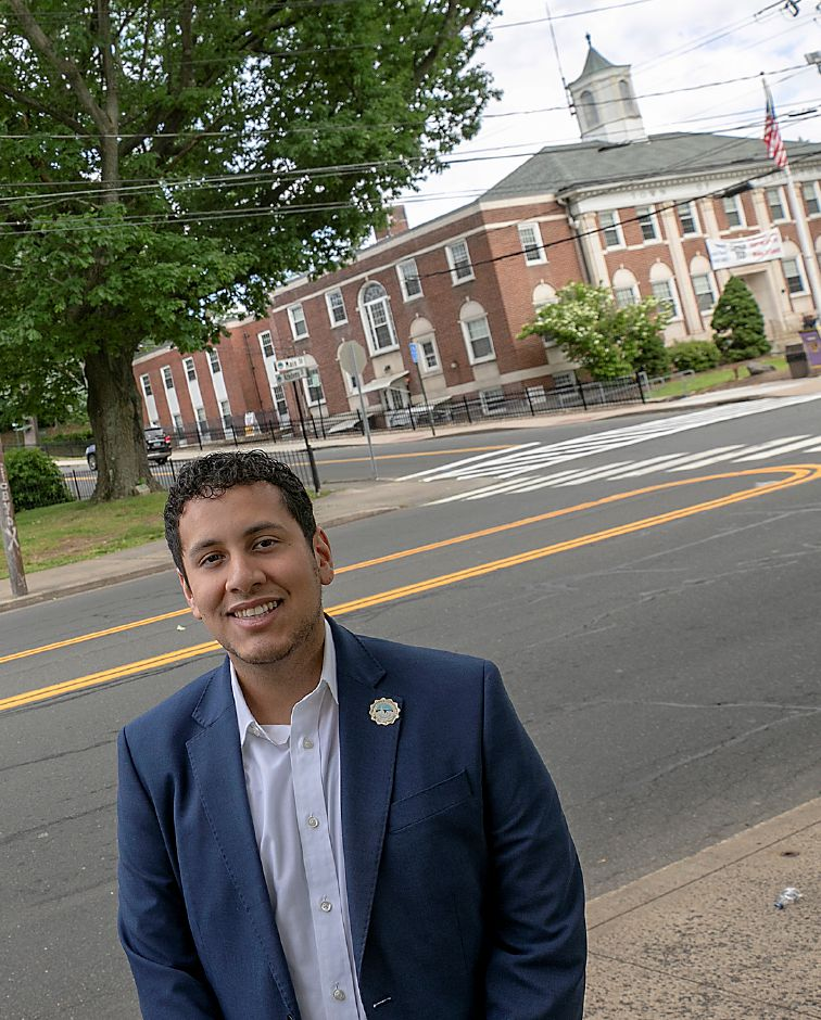 Southington Board of Education member David Falvo stands on the Southington town green across from town hall, Thurs., Jun. 18, 2020. Dave Zajac, Record-Journal