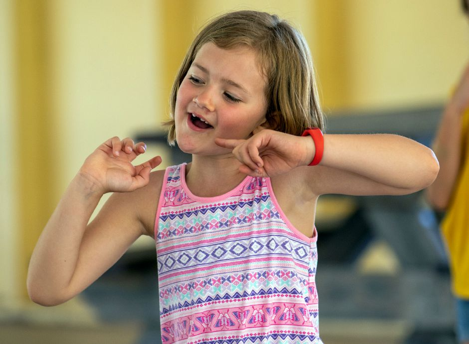 Musical theater camper Kaya Park 6, rehearses a musical number from Annie Kids during camp at the Meriden YMCA's Mountain Mist Day Camp on Friday, June 26, 2020. Aaron Flaum, Record-Journal