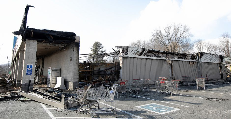 Carriages at rest on the east side of the former Tops Market in Southington, Thurs., Mar. 7, 2019. The business was destroyed by a blaze on Sunday. Dave Zajac, Record-Journal