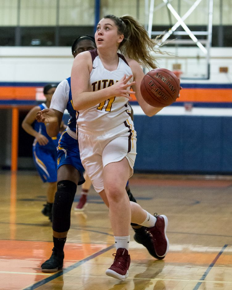 The emergence of junior center Natalie Panagrosso has been a catalyst for the Lyman Hall girls basketball team, which has won six of its last seven games. The lone loss was to rival Sheehan back on Jan. 3. The Trojans will look to avenge that setback when they host the Titans on Friday at 5 p.m. |  Aaron Flaum, Record-Journal