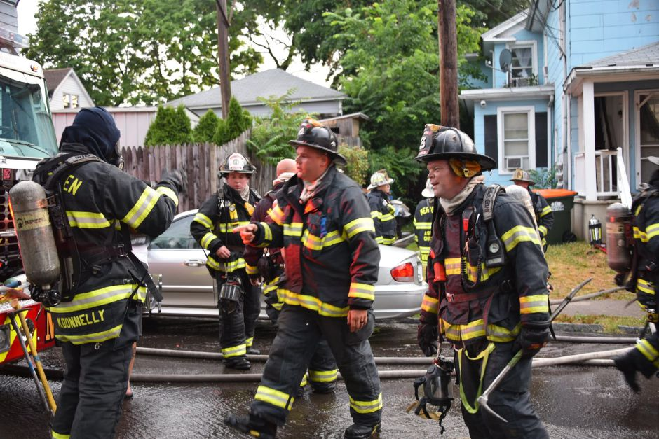 Meriden fire crews respond to a house fire at 8 Jackson Street on Sunday, June 28, 2020. | Photo Courtesy Michael Quinn/Meriden Fire Department