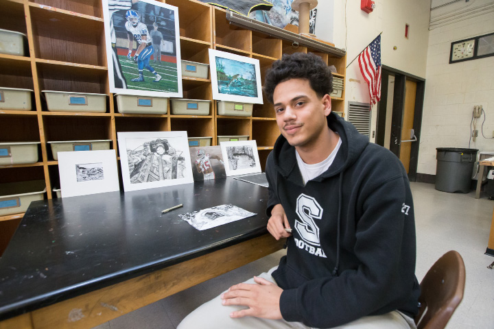 Southington's Richie Rivera, along with being a standout in football and wrestling, has a talent for art. | Photos by Justin Weekes, For the Record-Journal