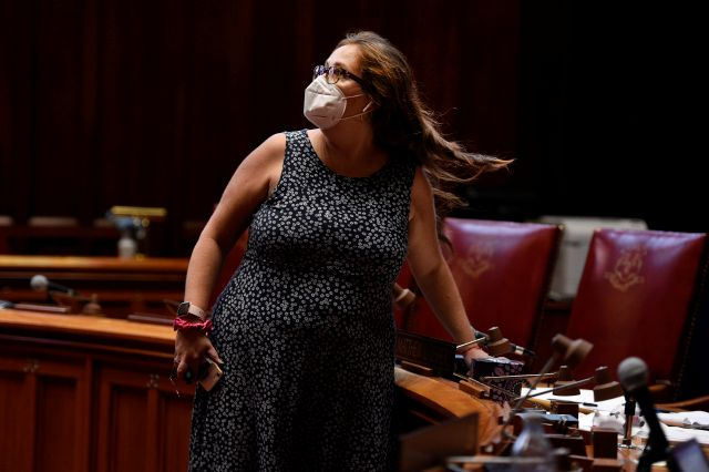 State Rep. Mae Flexer D-Killingly votes during special session at the State Capitol, Tuesday, July 28, 2020, in Hartford, Conn. (AP Photo/Jessica Hill)