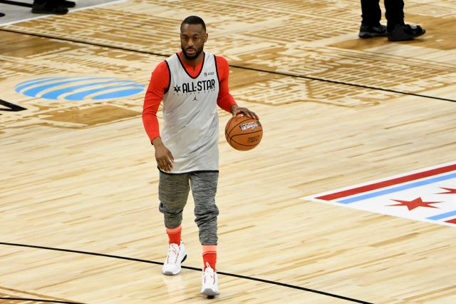 Kemba Walker of the Boston Celtics warms up during an NBA All-Star basketball game practice Saturday, Feb. 15, 2020, in Chicago. (AP Photo/David Banks)