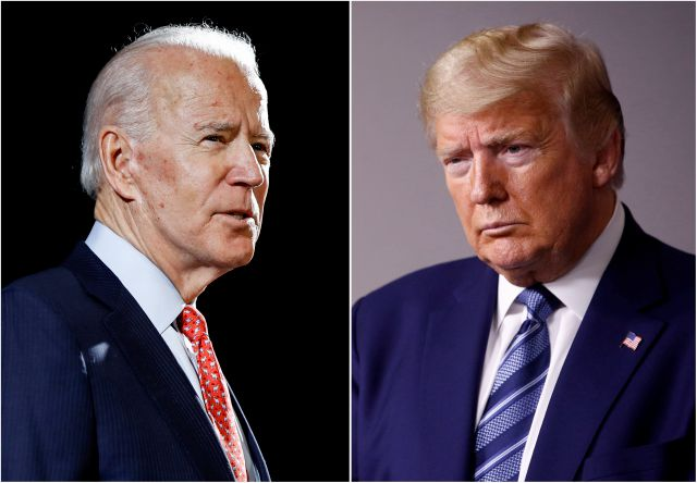"FILE - In this combination of file photos, former Vice President Joe Biden speaks in Wilmington, Del., on March 12, 2020, left, and President Donald Trump speaks at the White House in Washington on April 5, 2020. Trump has accused his Democratic rival Biden of having connections to the ""radical left"" and has pilloried his relationship with China, his record on criminal justice, his plans for the pandemic and even his son"