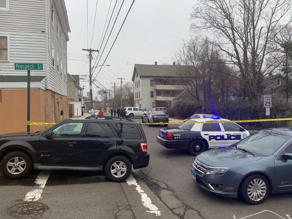 Meriden Police investigate a reported shooting in the area of Grove and Prospect streets Monday April 8, 2019. | Matthew Zabierek, Record-Journal