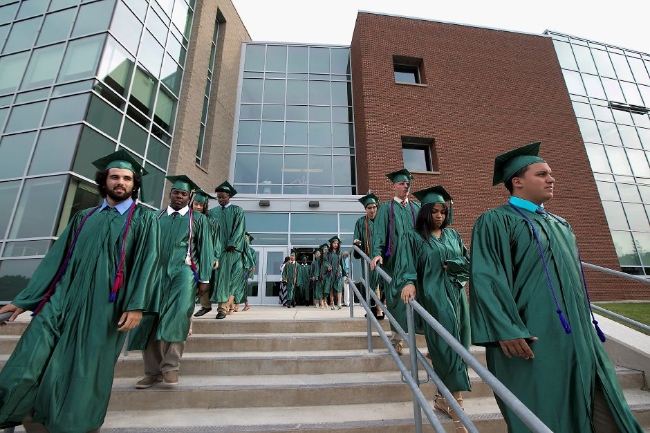 The Class of 2017 walk down the steps leading to graduation ceremonies at Maloney High School in Meriden, Tuesday, June 13, 2017. | Dave Zajac, Record-Journal