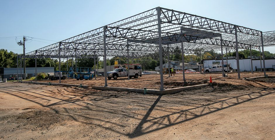 Steel framing is in place as construction continues on the new Tops Market in Southington, Thurs., Sept. 19, 2019. Dave Zajac, Record-Journal