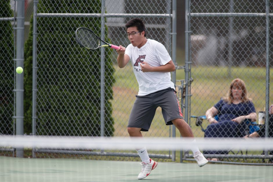 Jeff Duan plays a volley in the Mens Doubles match Sunday during the Wayton Open finals at Southington High School in Southington July 15, 2018 | Justin Weekes / Special to the Record-Journal