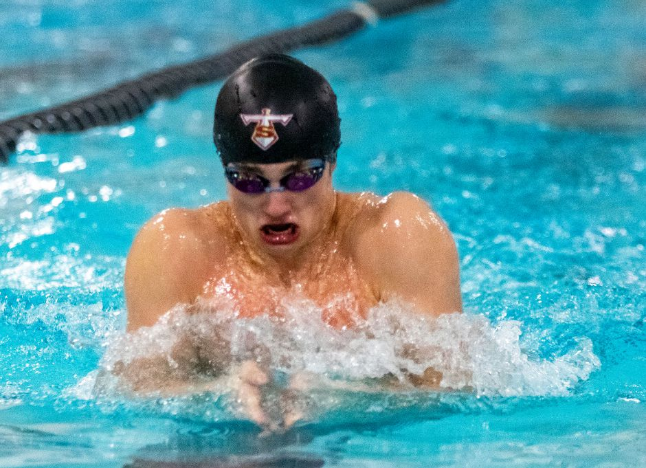 Sheehan's Joey Zellner swims the breaststroke leg of the 200 Medley Relay against Cheshire during a dual meet at Sheehan High School on Thursday, December 19, 2019. Aaron Flaum, Record-Journal