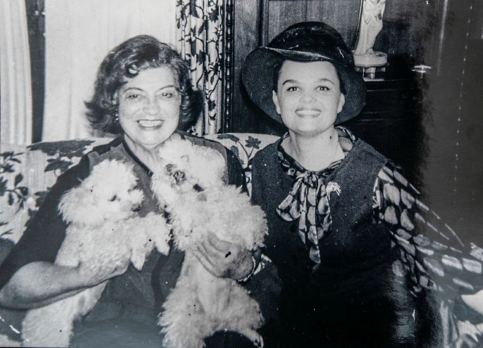 Rosa Ponselle, an American operatic soprano from Meriden, left, holds her two poodles for a photo with opera singer Virginia Gordoni. Courtesy Virginia Gordoni