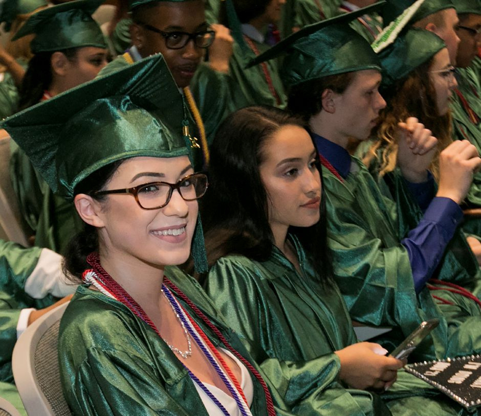 during graduation ceremonies at Maloney High School in Meriden, Tuesday, June 13, 2017. | Dave Zajac, Record-Journal