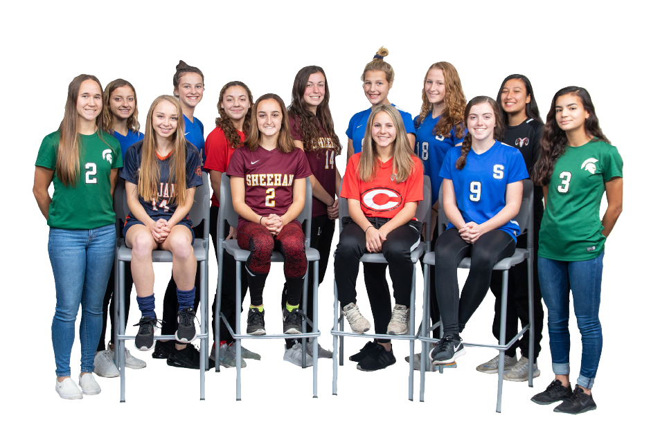 Introducing the 2019 All Record-Journal Girls Soccer Team. In the back row, left to right, are Southington teammates Emma Panarella and Jessica Carr, Cheshire's Gabby Tirado, Sheehan's Olivia Dubuc and Southington teammates Allison Carr and Abby Sowa, and Cheshire's Seymone Rosenberg. The girls in green, Maloney teammates Liv Aitken (left) and Mackenzie McCormack (right), flank the girls sitting in the front row. They are, from left to right, Lyman Hall's Jordan Smith, Sheehan's Marley Esch, Cheshire's Ellie Pergolatti and Southington's Shannon Litchfield. Aaron Flaum, Record-Journal