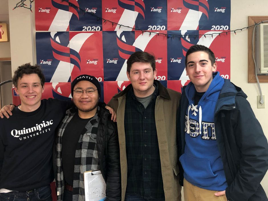 Quinnipiac University students, John Hangen, of Cheshire, left, next to him, Joshua Gorero, of Durham, along with Jonathan Rosenblum and Nicholas Ciampanelli on the far right. The students were among the campaign volunteers in New Hampshire ahead of Tuesday