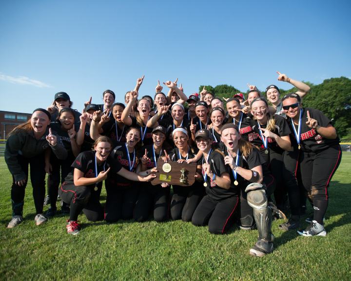 Cheshire's CIAC Class LL champion softball team poses Saturday in West Haven.  | Photos by Justin Weekes / Special to the Record-Journal