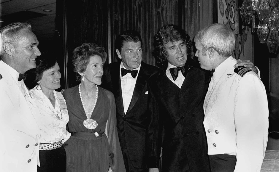 Former California Governor Ronald Reagan, center, actor Michael Landon, second from right, and the governor