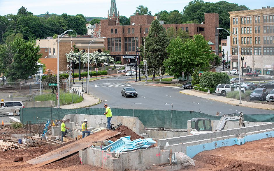 FILE PHOTO – Crews continue work on a mixed-income housing development at 11 Crown St. in downtown Meriden, Fri., June 7, 2019. Dave Zajac, Record-Journal