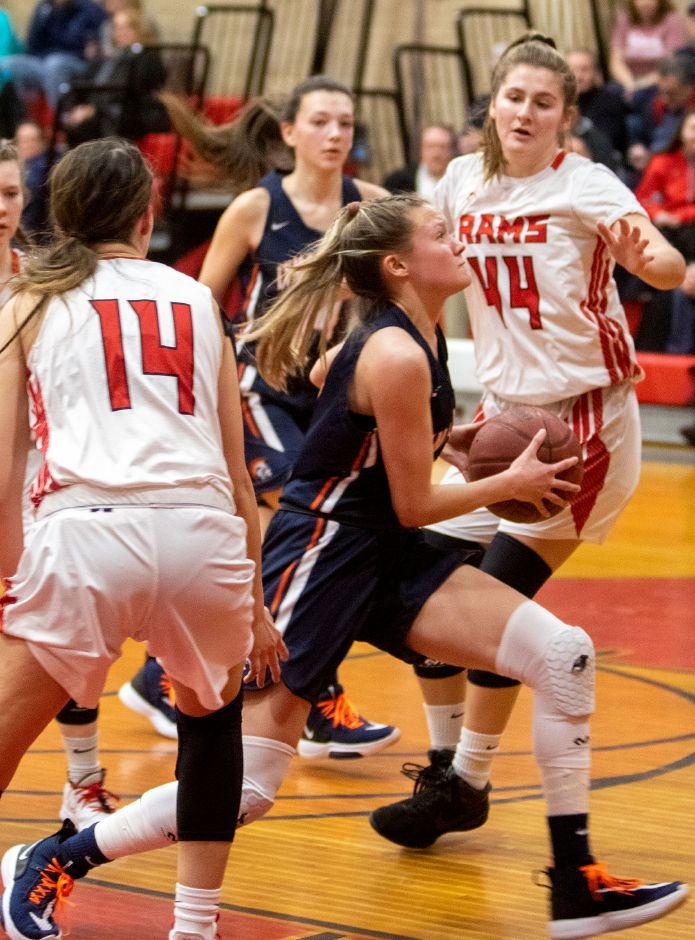 Hailey Bruneau and the Lyman Hall Trojans followed up Tuesday's win over Cheshire with a 57-23 rout of North Branford on Wednesday. At 8-4, LH has qualified for the postseason. | Aaron Flaum, Record-Journal