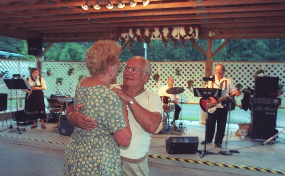 RJ file photo - George and Jeannine Hadvab of Meriden, dance to a slow waltz at the Meriden Turner Society picnic Saturday night July 17, 1999.