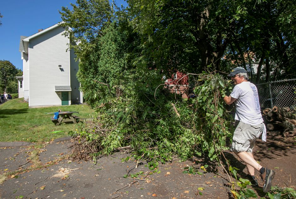 Mirion Technologies employee Charles Letouzey clears brush from the back parking lot of the Child Guidance Clinic in Meriden while volunteering for the United Way's Day of Caring Tuesday. Dave Zajac, Record-Journal