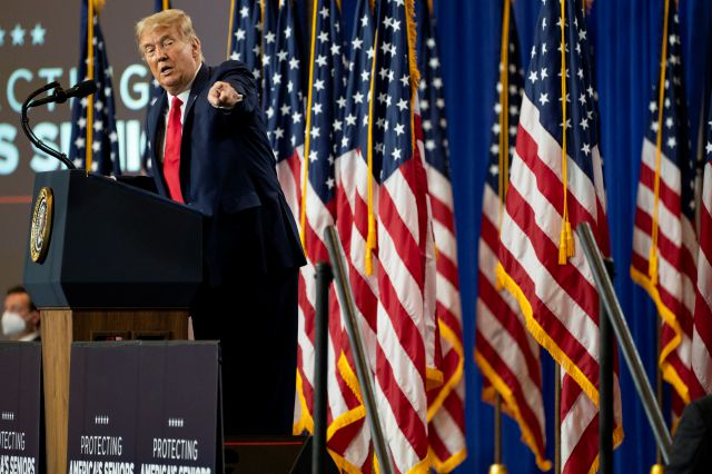"President Donald Trump speaks during an event on ""Protecting America"