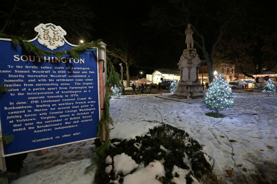 The town green is lit up during the annual Southington White Christmas in the Community event on Friday night, Dec. 6, 2019. Emily J. Tilley, special to the Record-Journal.