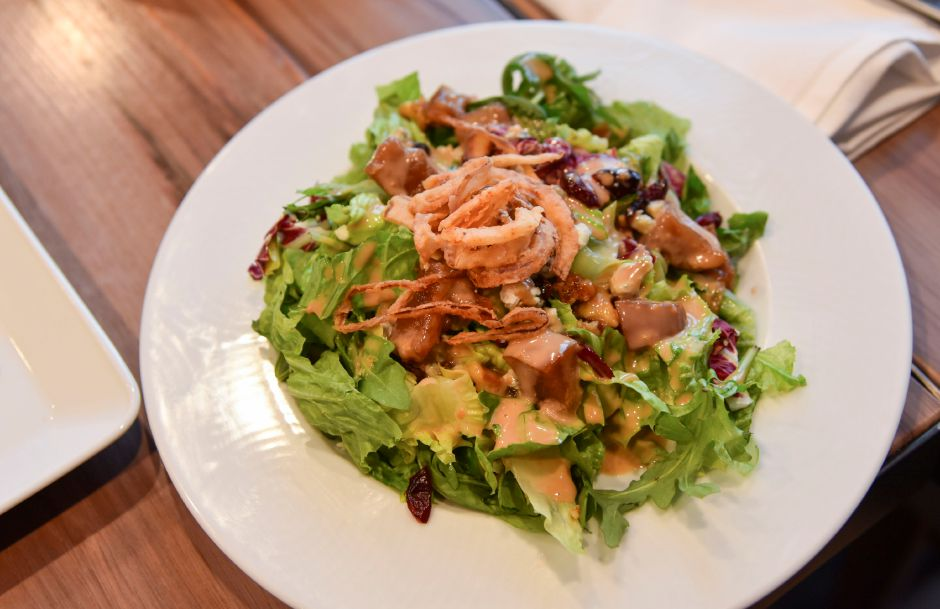 The Signature Salad at Nataz in Southington on Thursday, August 15, 2019. The salad includes mixed spring greens, dried cranberries, dolce gorgonzola, caramelized walnuts and house balsamic dressing with crispy bermudas. | Bailey Wright, Record-Journal