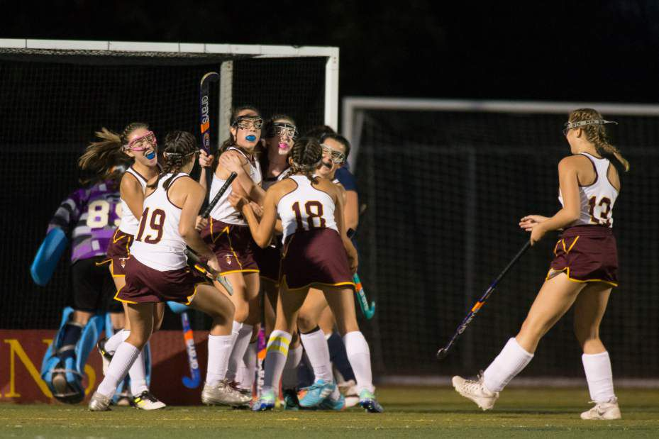 Sheehan celebrated after a goal by Stephanie Phoenix Wednesday at Riccitelli Field on the campus of Sheehan High School in Wallingford October 4, 2017 | Justin Weekes / For the Record-Journal