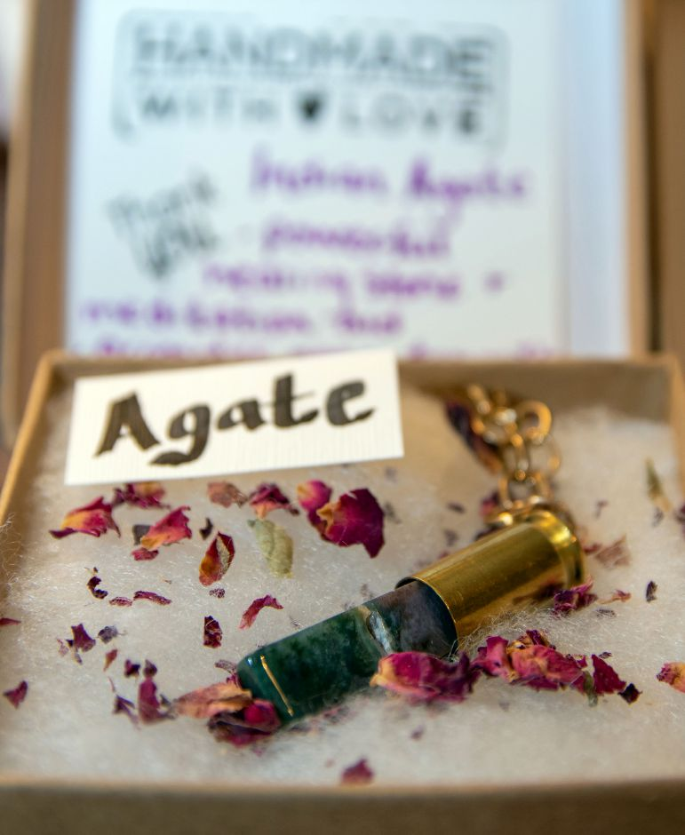 A bullet casing necklace made by Alyssa Martin, of Wallingford. Aaron Flaum, Record-Journal