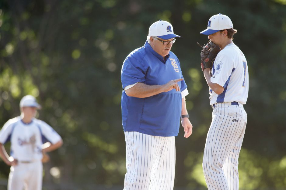 Meriden coach Doug Wedge, seen here talking to pitcher Justin Kolesar during a 2018 American Legion game, takes his team into an indepedent 2020 summer season in the CT Elite Baseball Association, which is filling in for the cancelled American Legion season. Record-Journal file photo
