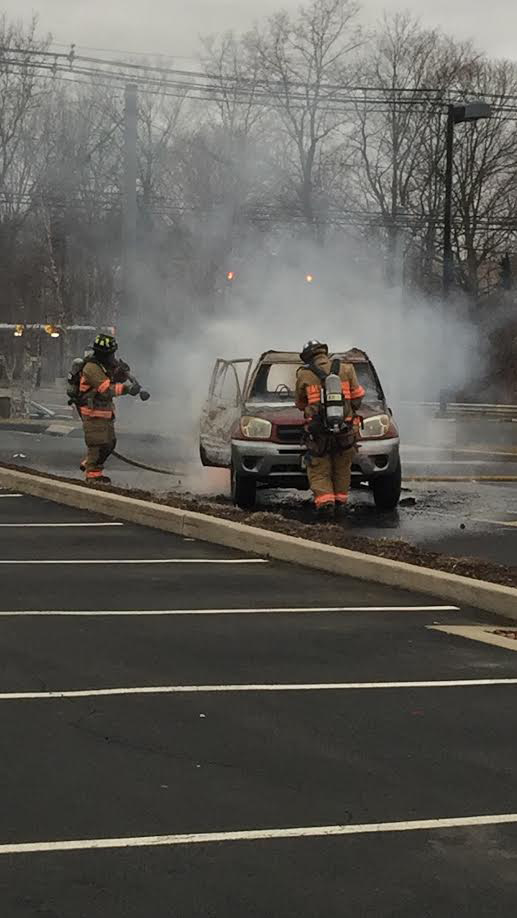 Firefighters extinguished a vehicle fire in the parking lot of IHOP on Route 5 just before 3:30 p.m. on Monday, Jan. 23, 2017. No injuries were reported. | Photo courtesy of Craig Cassella