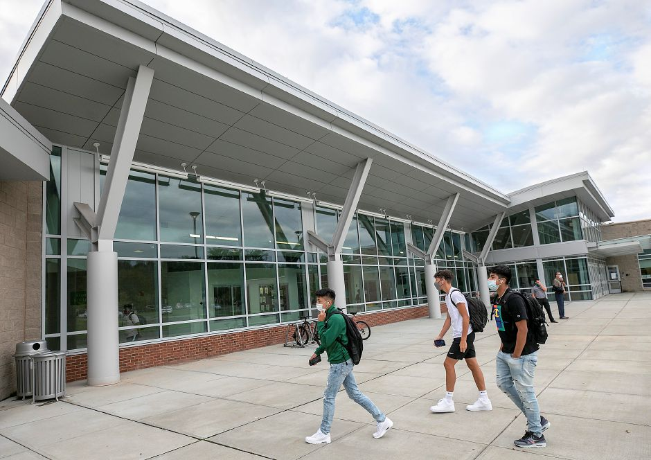 Students head into Maloney High School on the first day of school in Meriden, Thurs., Sept. 3, 2020. Dave Zajac, Record-Journal